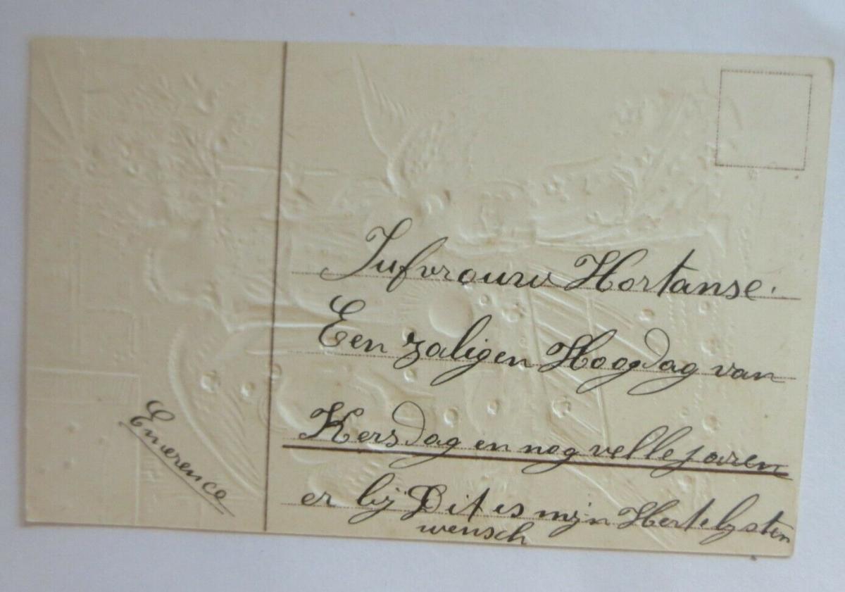 Weihnachten, Engel, Krippe, Jesus, 1907,  Prägekarte ♥ (68023) 1