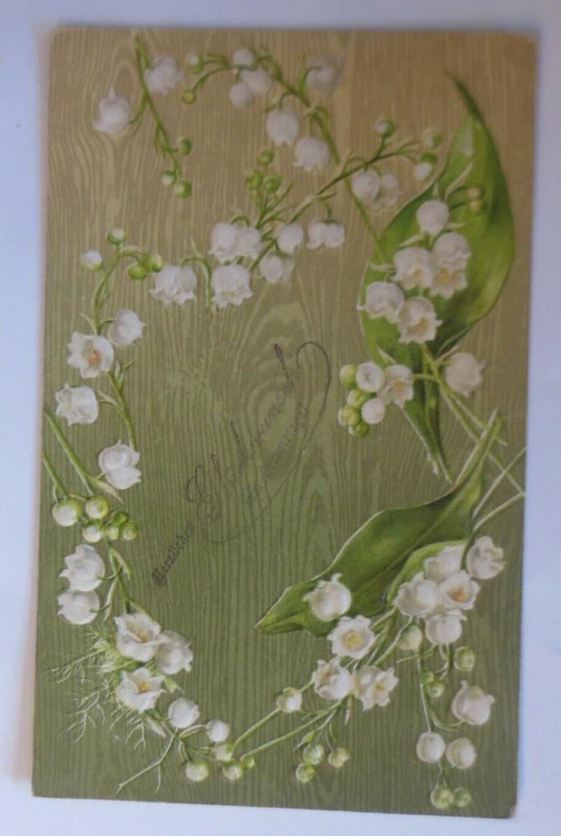 Geburtstag, Blumen, Maiglöckchen,  1909, Prägekarte ♥ (28718) 0