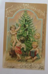 Weihnachten,Jugendstil, Engel, Weihnachtsbaum, Akkordeon,1904,Prägekarte♥(19547)