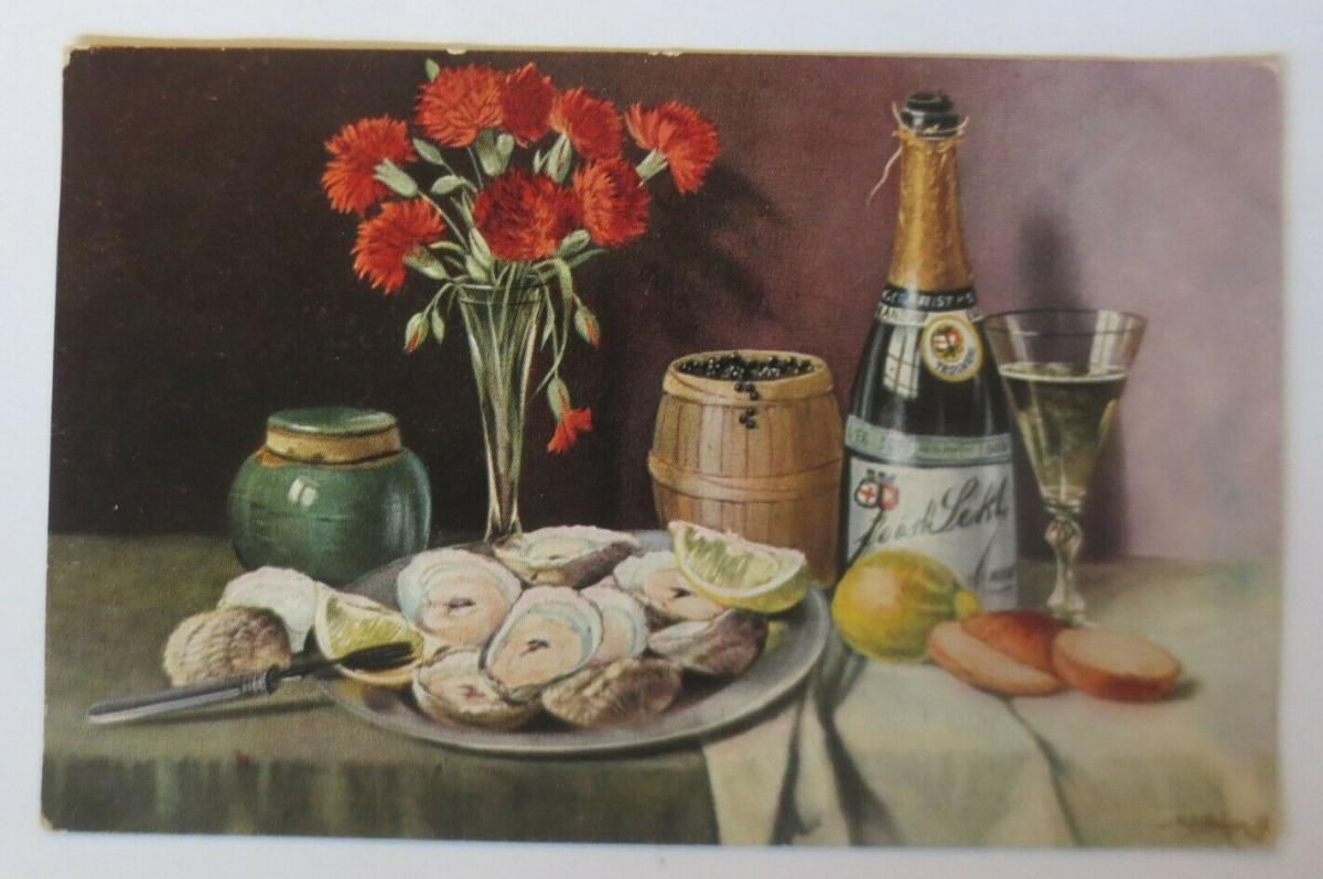 Künstlerkarte, Gabentisch, Muscheln, Sekt, Nelken, 1914, M. O. Bügen  ♥ (24106) 0