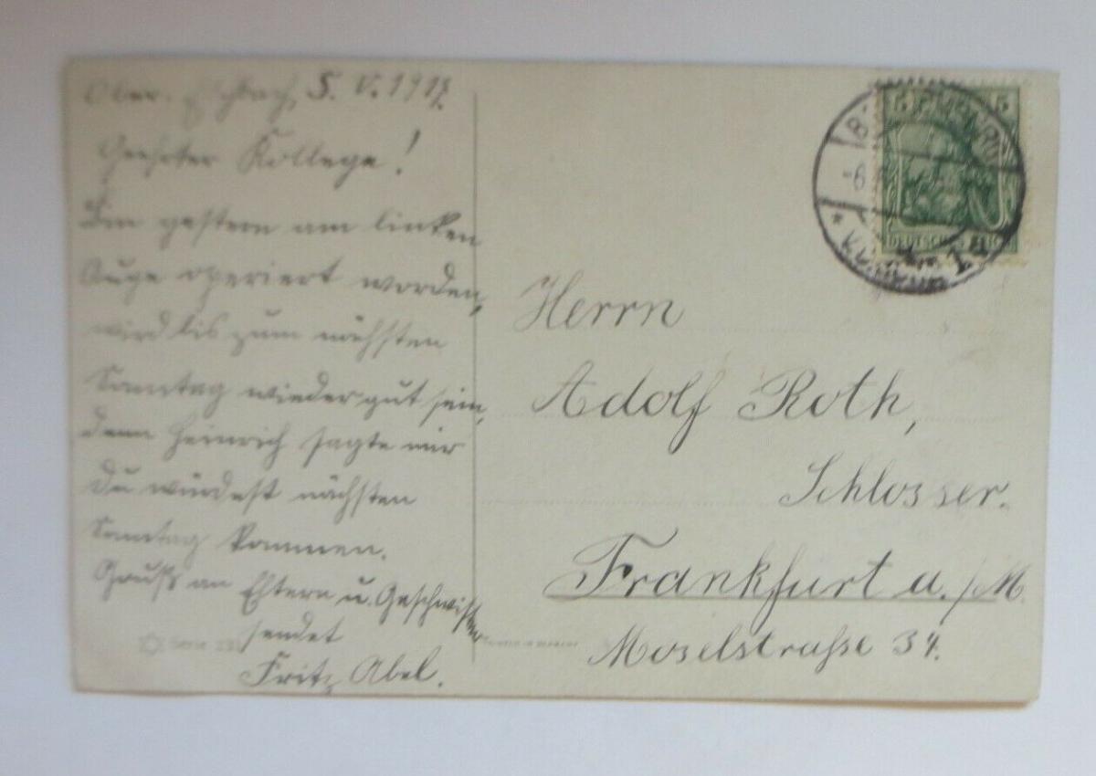 Künstlerkarte, Gabentisch, Muscheln, Sekt, Nelken, 1914, M. O. Bügen  ♥ (24106) 1