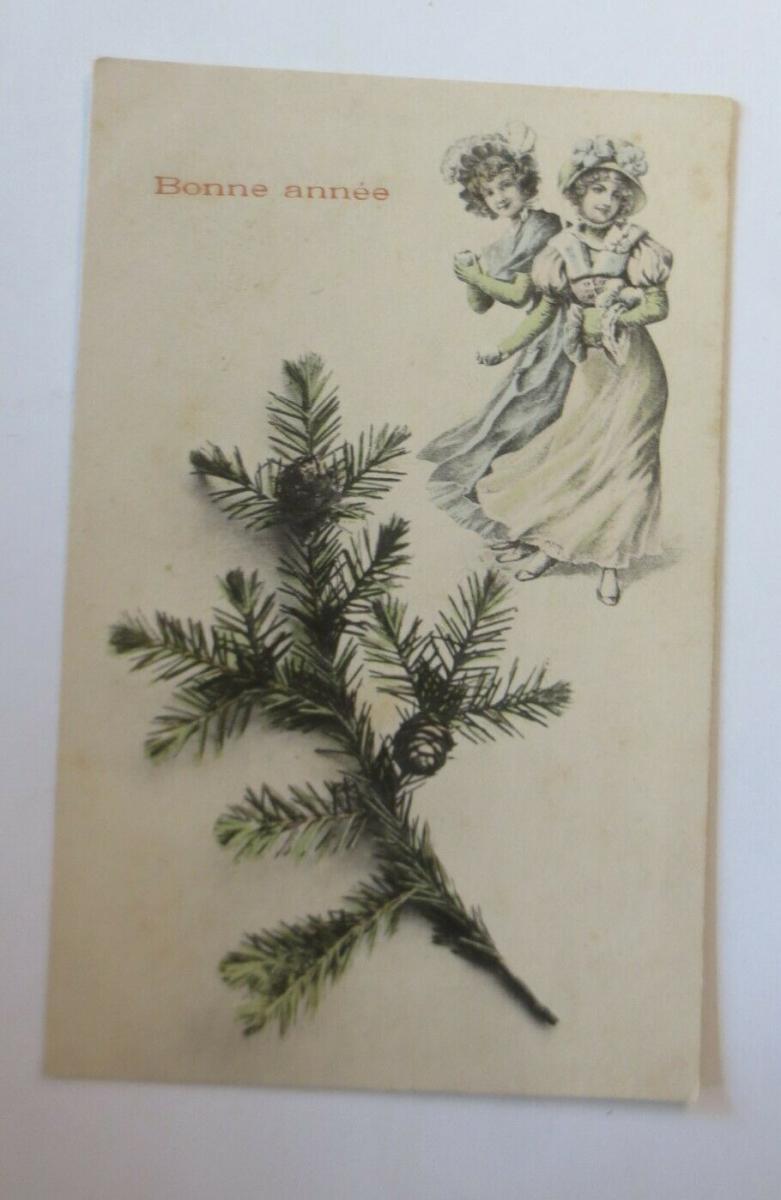 Neujahr, Frauen, Mode, Tannenzweig,  1900 ♥ (25963) 0
