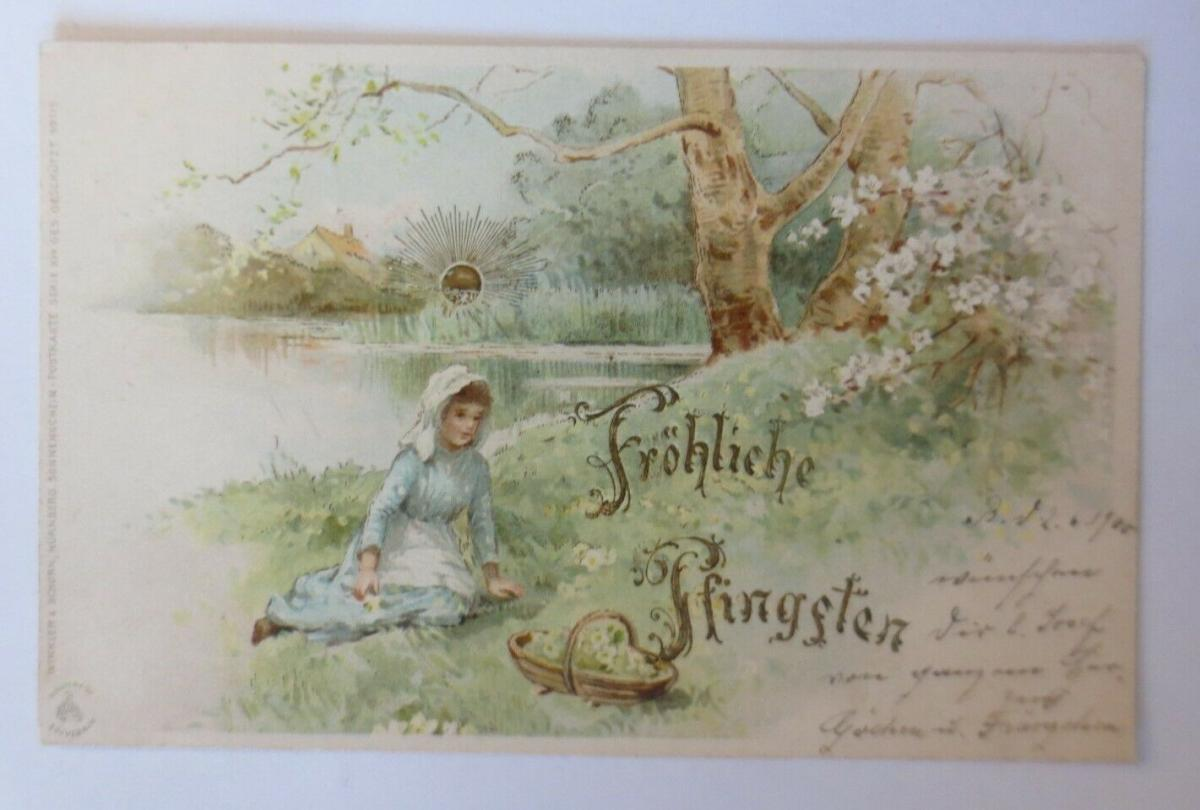 Pfingsten, Sonnenscheinkarte, Sonne, Landschaft,  1900, Golddruck  ♥ (25469) 0