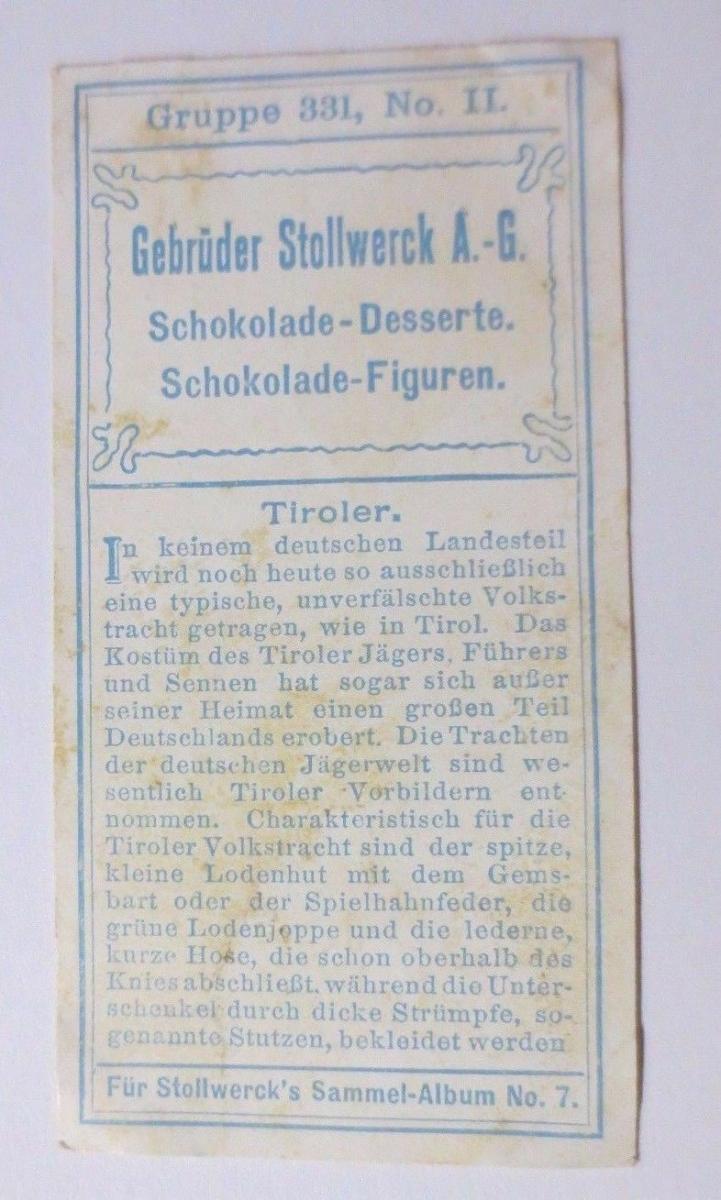Stollwerck, Gruppe 331,  Nr.2,   Album  Nr.7,  Trachten II. ♥ 1