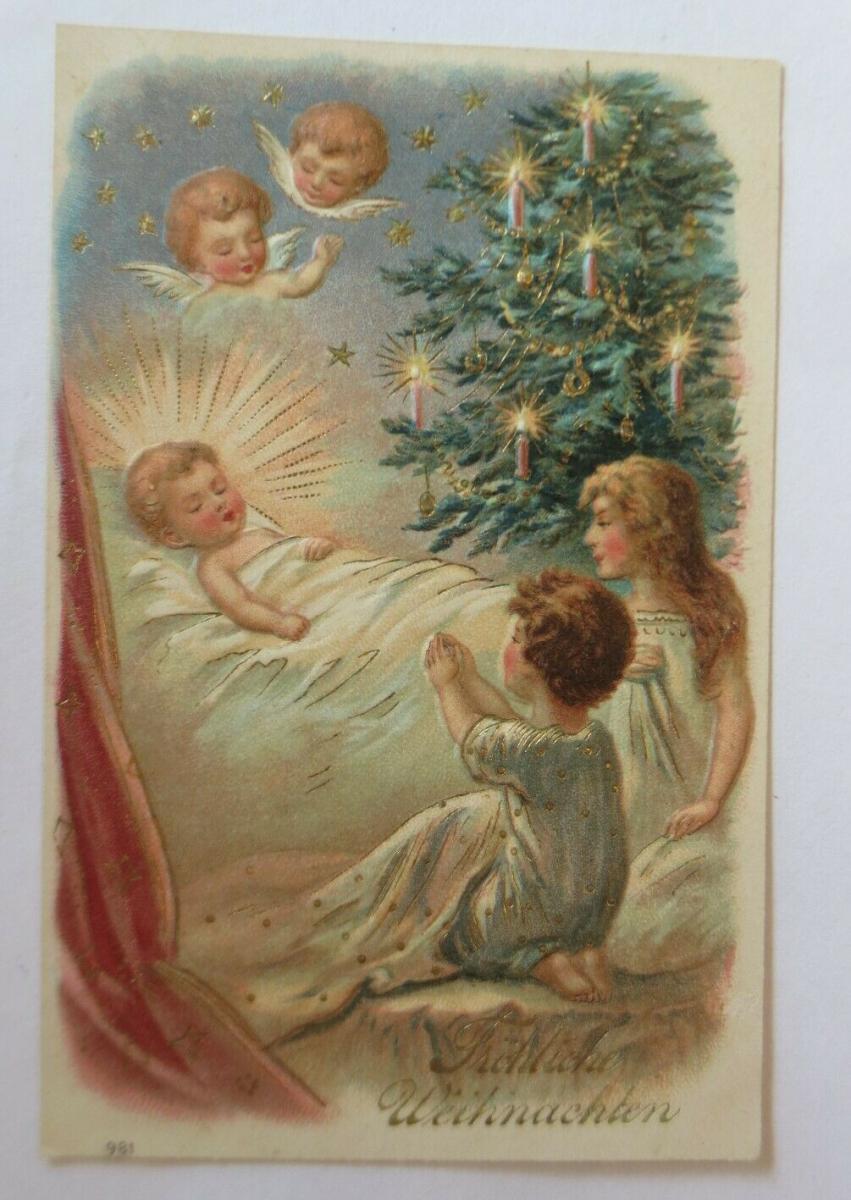 Weihnachten, Kinder, Bett, Weihnachten, Engel, 1907,  Prägekarte ♥ (45359) 0