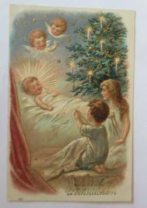 Weihnachten, Kinder, Bett, Weihnachten, Engel, 1907,  Prägekarte ♥ (45359)