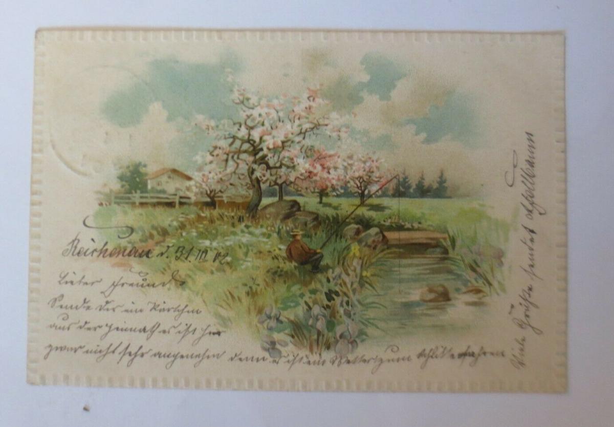Künstlerkarte, Landschaft, Angler, 1902, Prägekarte  ♥ (25363) 0
