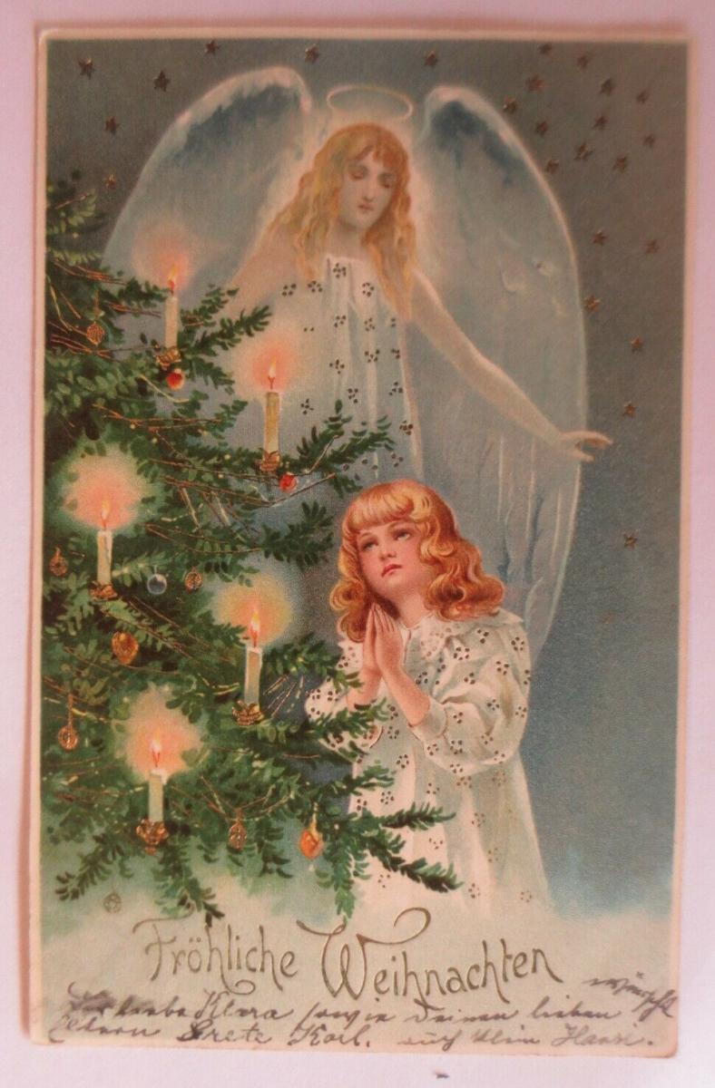 Weihnachten, Engel, Christkind, Weihnachtsbaum,  1905, Golddruck ♥ (41323) 0