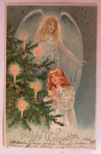 Weihnachten, Engel, Christkind, Weihnachtsbaum,  1905, Golddruck ♥ (41323)