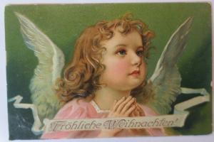 Weihnachten, Engel, Beten, Fröhliche Weihnachten,  1905, Prägekarte  ♥ (38942)