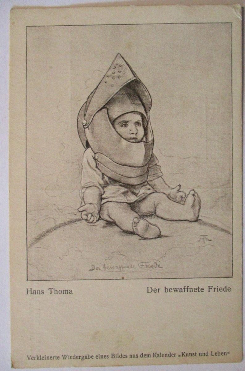 Patriotik Hans Thoma, Kind mit Ritterhelm, Der bewaffnete Feind (30998) 0