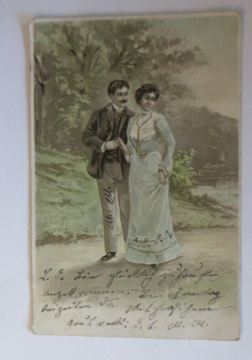 Künstlerkarte, Frauen, Männer, Mode,  1906, Prägekarte ♥ (22645) 0
