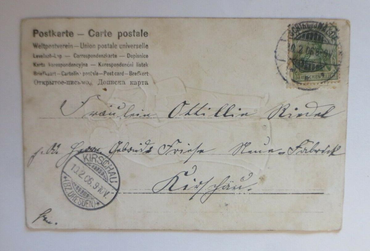 Künstlerkarte, Frauen, Männer, Mode,  1906, Prägekarte ♥ (22645) 1