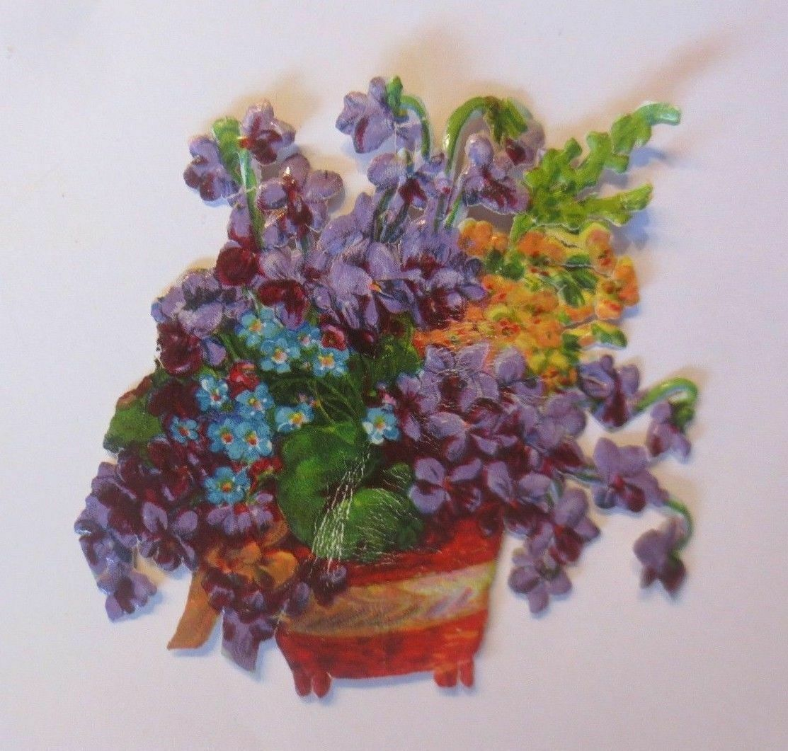 Oblaten, Blumen,   1900,  7 cm x 7 cm  ♥ 0