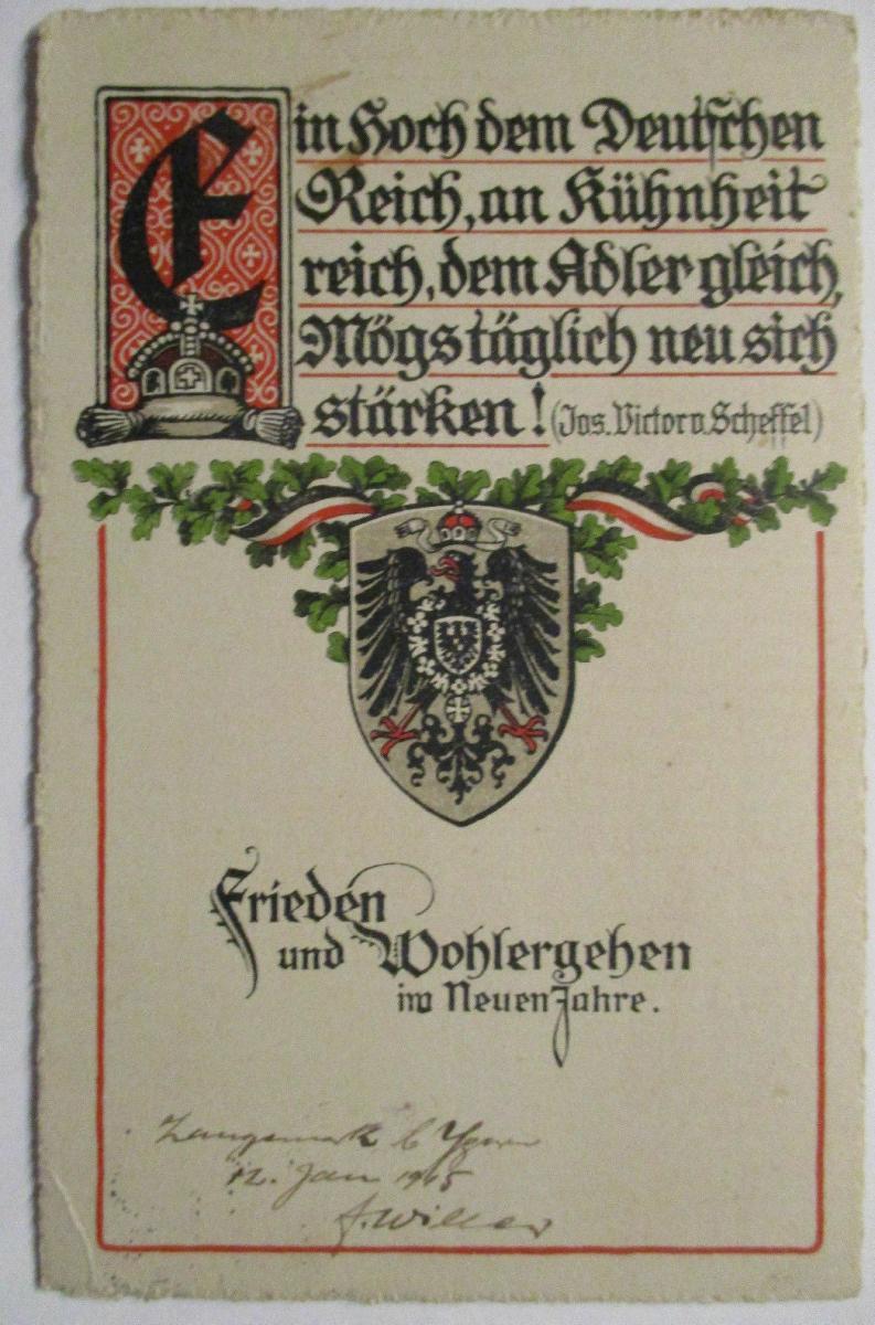 Ein hoch dem Deutschen Reich, Neujahr Patriotik 1914 (30917) 0