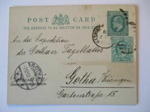Großbritannien, Ganzsache 1902 an Zeitung Tageblatt Gotha (2762)