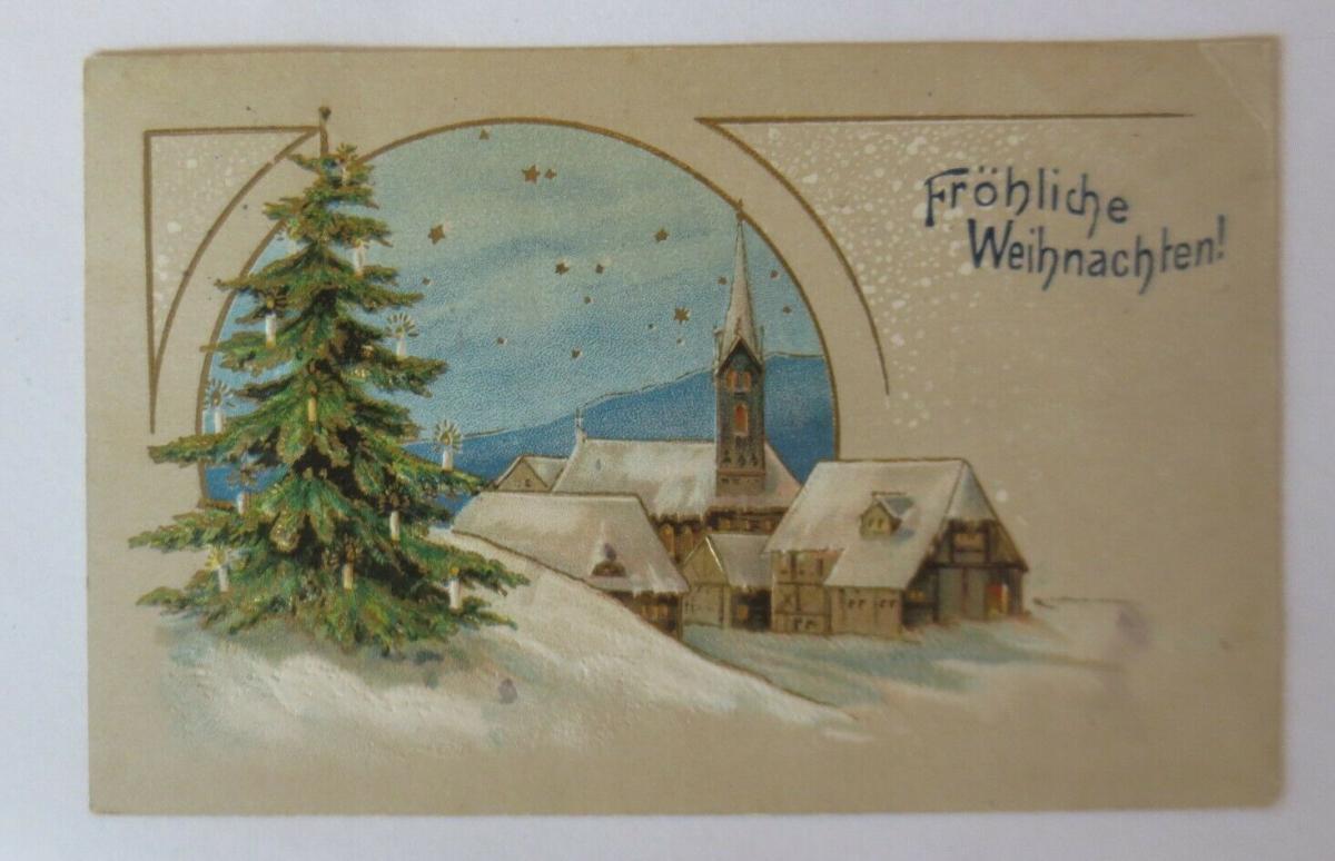 Weihnachten, Kirche, Dorf, Weihnachtsbaum,  1910, Prägekarte ♥ (23881) 0