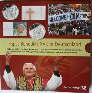 Papst Benedikt in Deutschland, 2 Silbermedaillen im Folder + Hülle