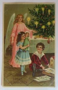 Weihnachten, Engel, Kinder, Bescherung, Spielzeug, 1910, Prägekarte ♥ (17098)