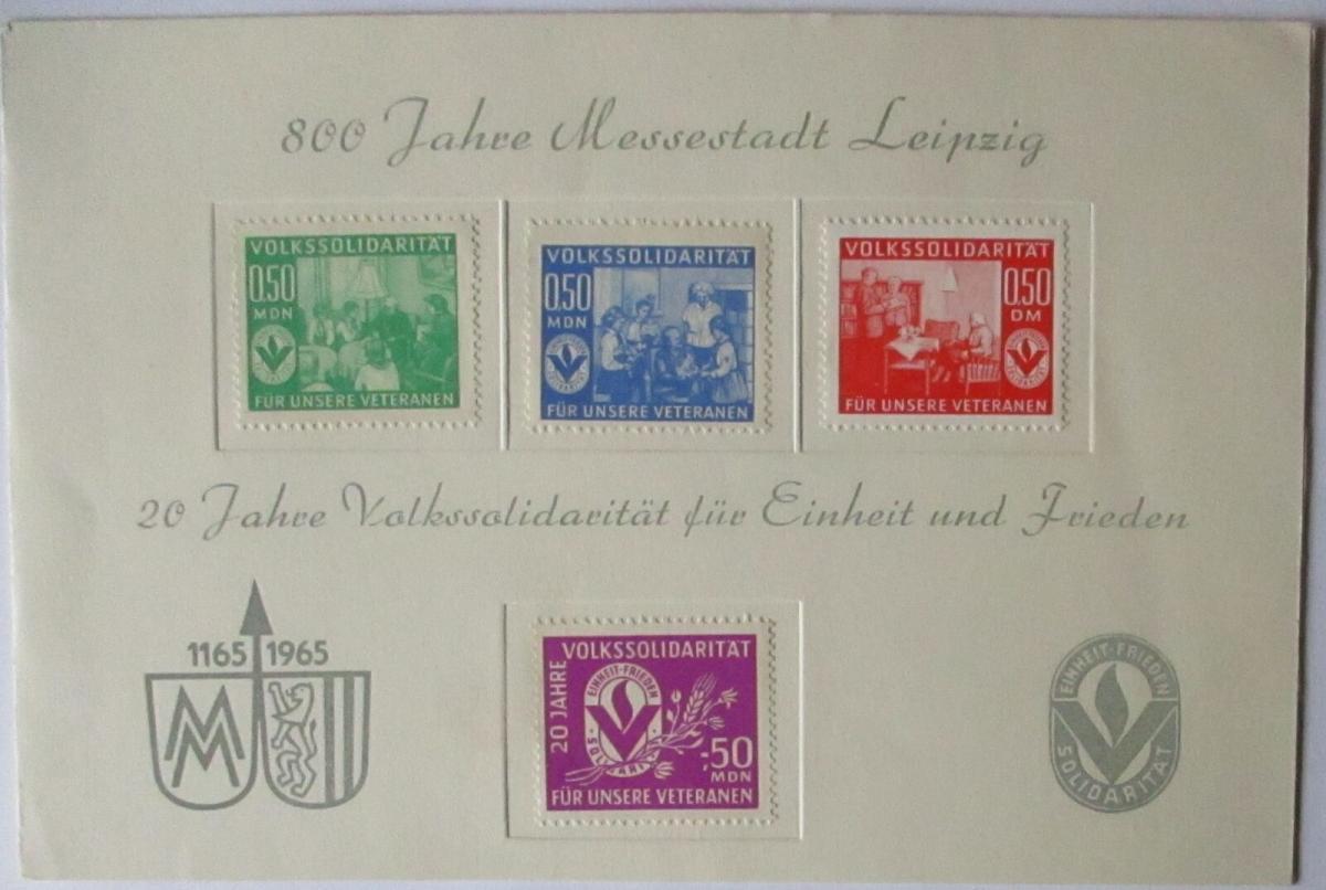 Leipziger Messe 1965, Gedenkblatt mit 4 Spendenmarken Volkssolidarität (453) 0