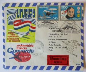 Flugzeuge Concorde Brief Uruguay 1976 Flugpostbrief  (58833)