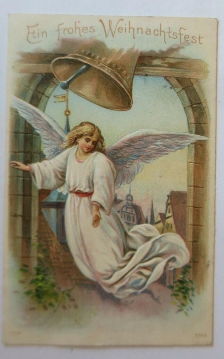 Weihnachten, Engel, Glocken, Kirche,  1909, Prägekarte ♥ (8972) 0