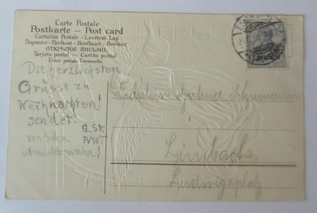 Weihnachten, Engel, Glocken, Kirche,  1909, Prägekarte ♥ (8972) 1
