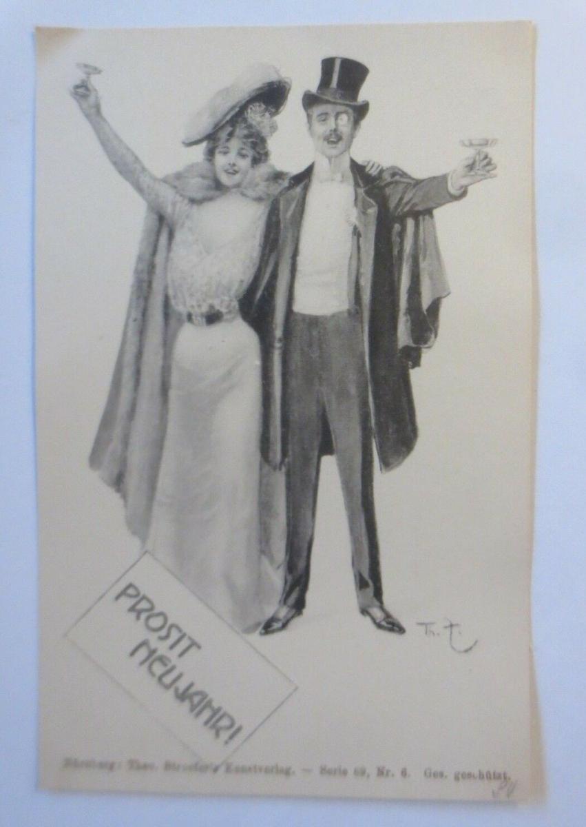Neujahr, Männer, Frauen, Mode, Zylinder, Sekt, 1900, Theo Stroefer ♥(72034) 0