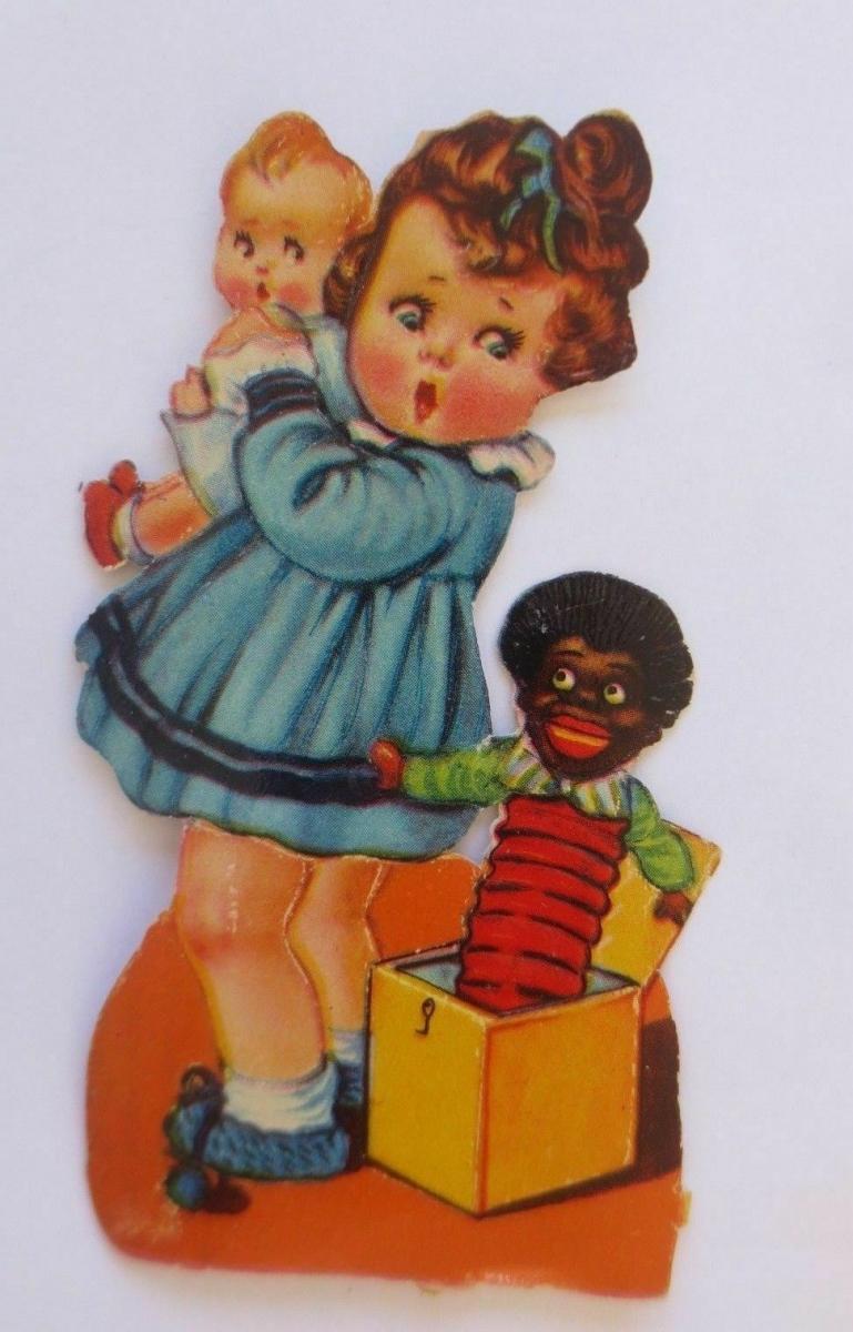 Oblaten, Kinder, Puppe, Kistenteufel,    11 cm x 5,5 cm ♥ 0