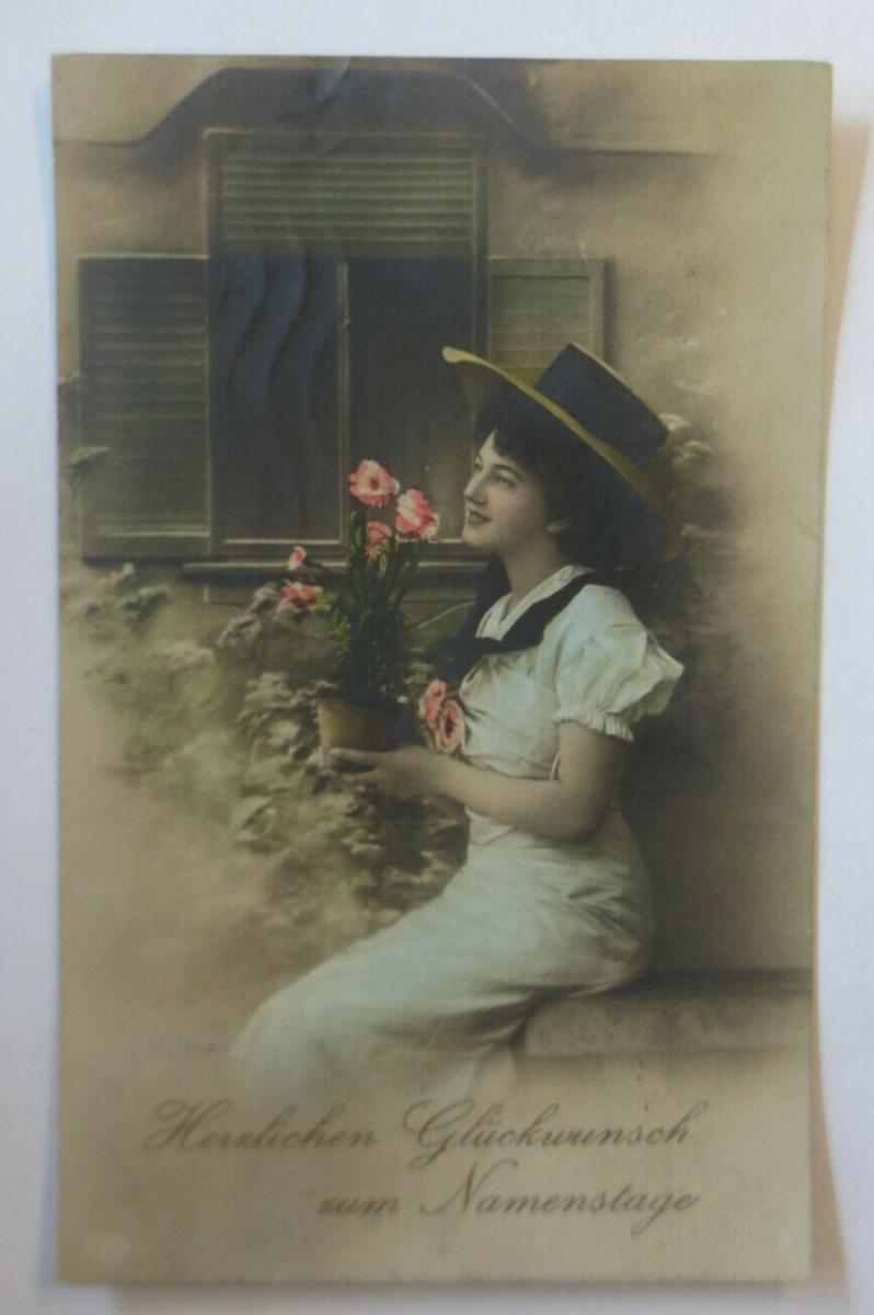 Namenstag, Frauen, Mode, Blumen, Hut,  1910  ♥ (61181) 0
