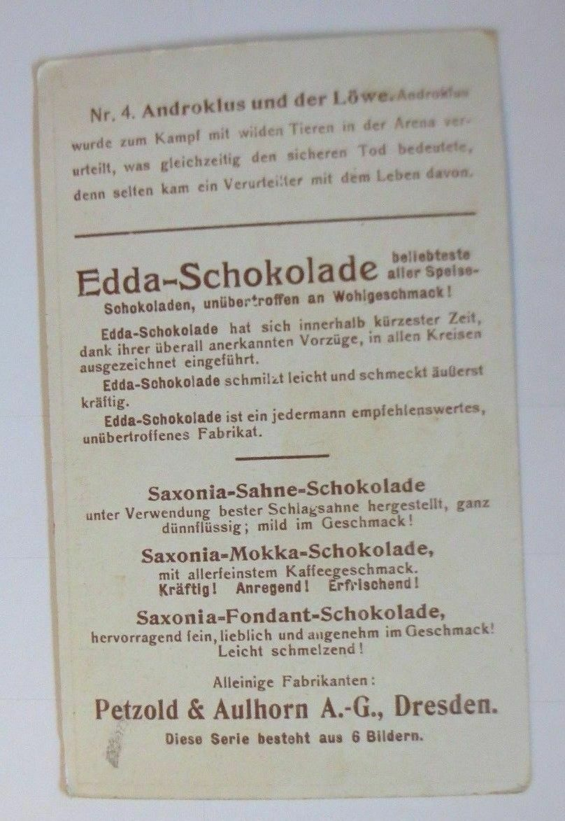 Kaufmannsbilder, Petzold & Aulhorn Dresden, Androklus u. der Löwe ♥ 1