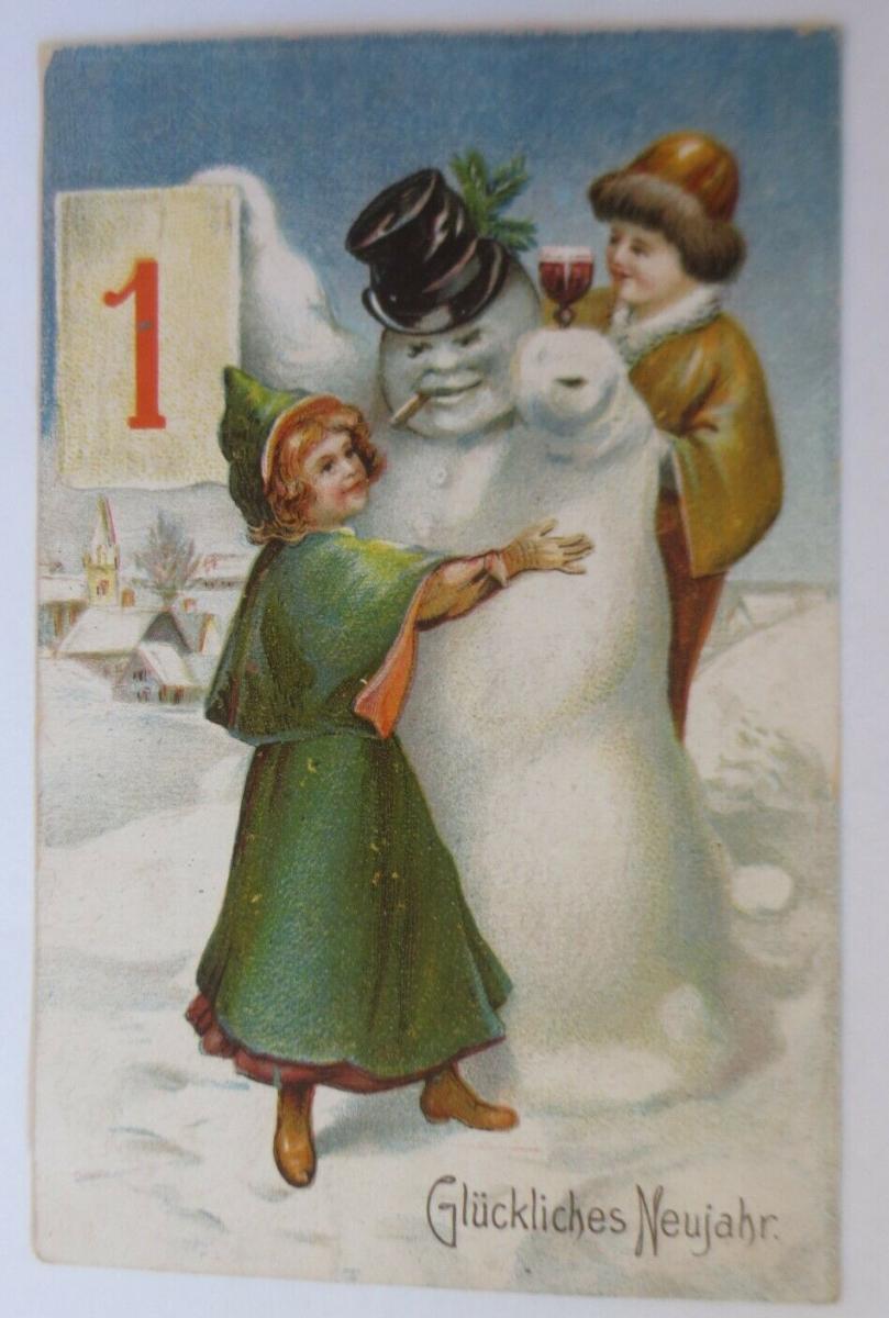 Neujahr, Kinder, Mode, Schneemann, Zylinder, Kalender,   1911 ♥ (1000) 0