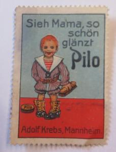 Vignetten  Schuh Creme Pilo Adolf Krebs Mannheim 1900 ♥ (28289)