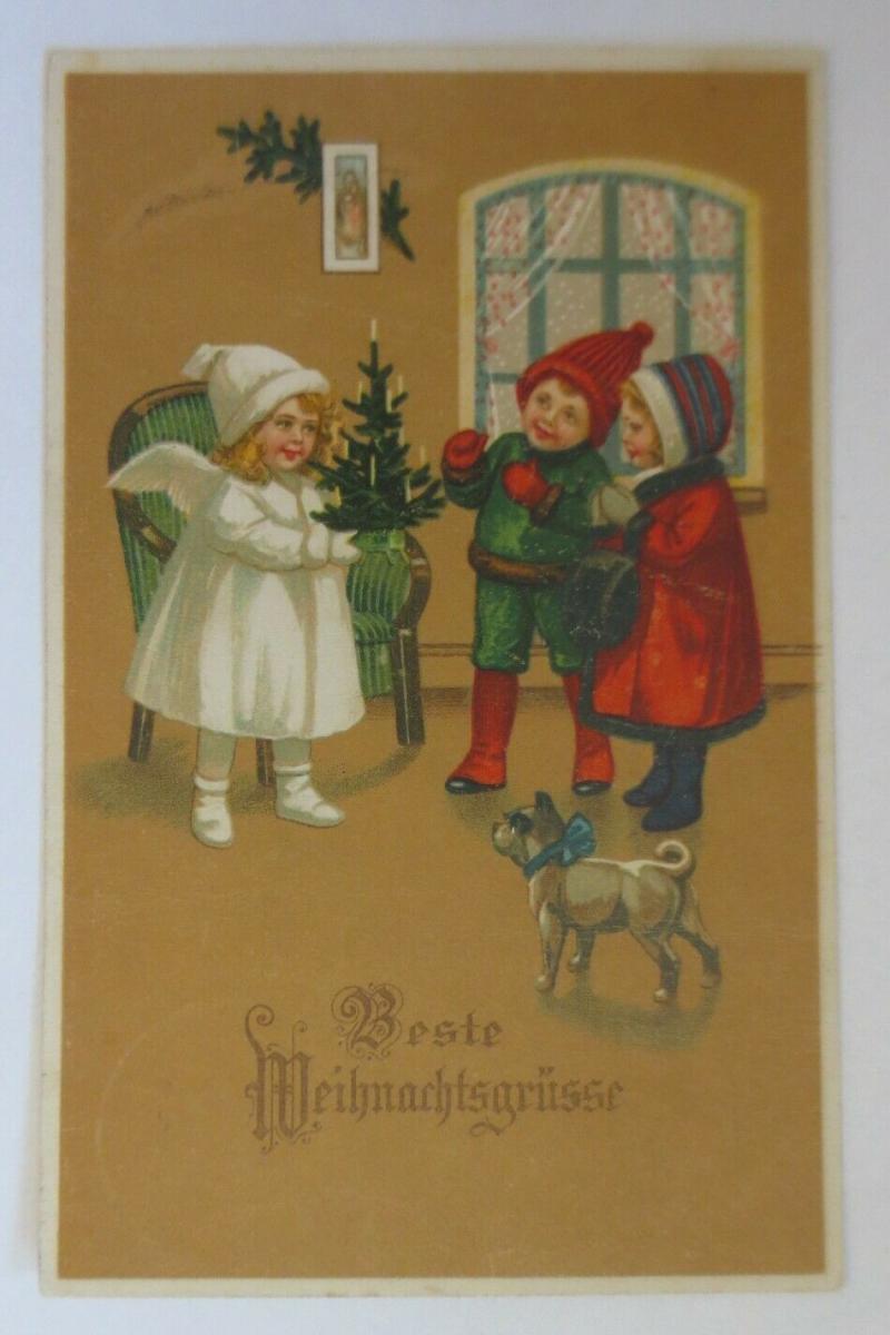 Weihnachten, Engel, Weihnachtsbaum, Kinder, Mode, Hund, 1920 ♥  (46740) 0