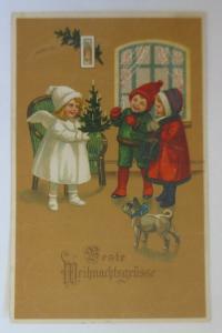 Weihnachten, Engel, Weihnachtsbaum, Kinder, Mode, Hund, 1920 ♥  (46740)
