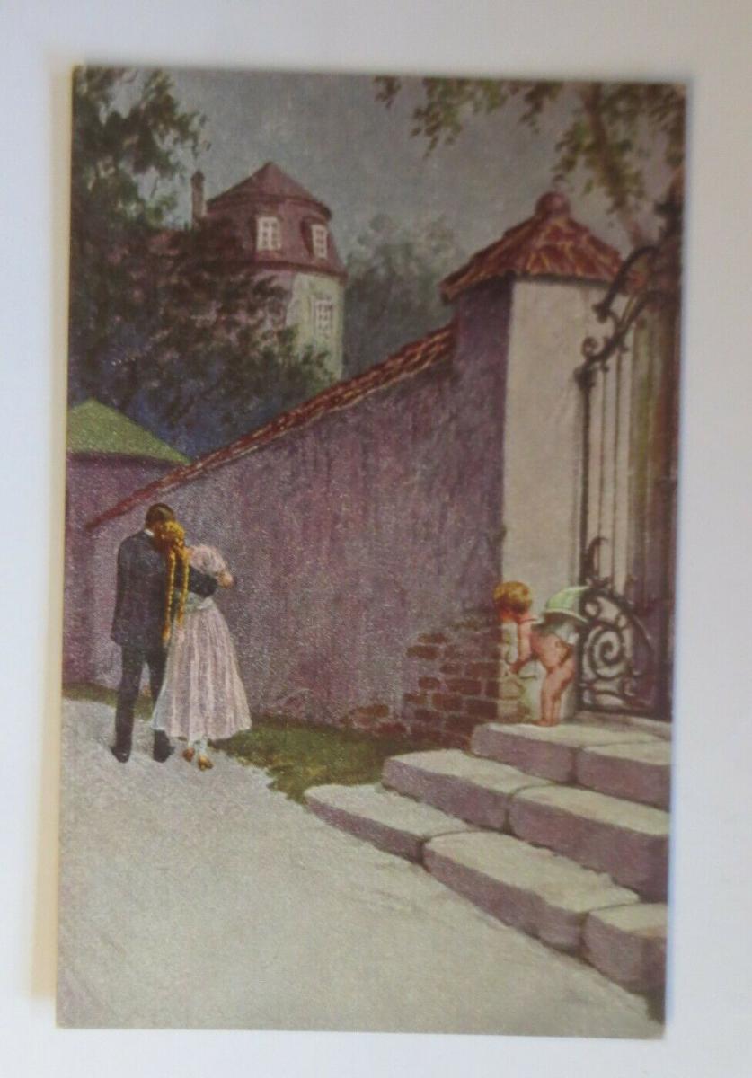 Engel, Amor, Ins Herz getroffen, 1920, M. Berger  ♥ (60846) 0
