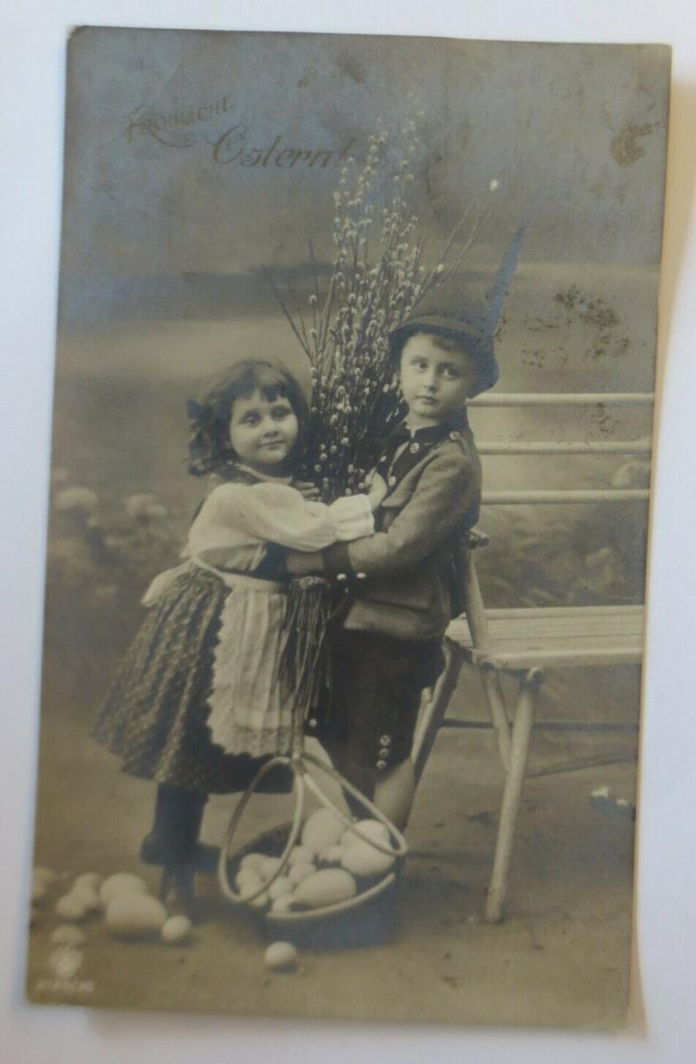 Ostern, Kinder, Mode, Weidenkätzchen, Korb, Eier,   1916  ♥ (50878) 0