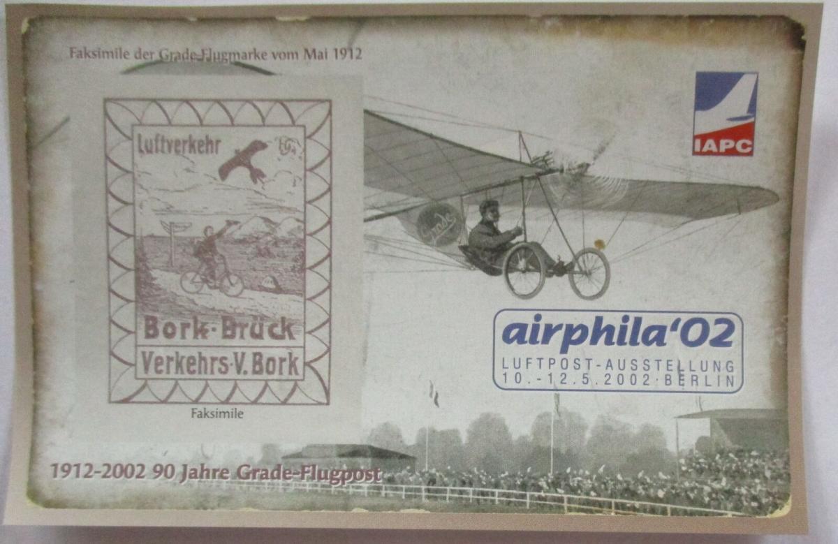 Philatelie Ausstellung Airphila 2002 in Berlin Vignettenblock (14409) 0