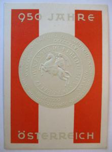 950 Jahre Österreich, Präge Ansichtskarte mit Sonderstempel 1946 (1848)