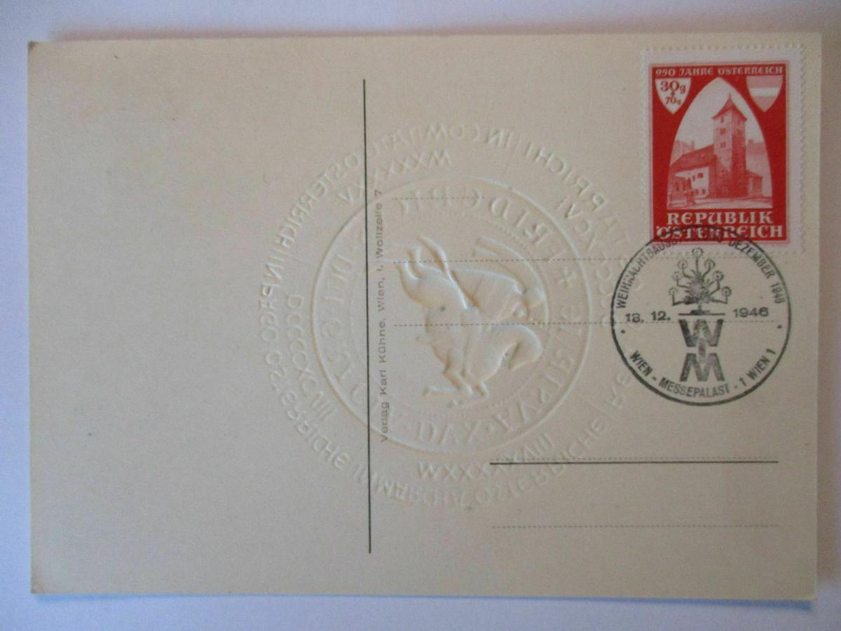 950 Jahre Österreich, Präge Ansichtskarte mit Sonderstempel 1946 (1848) 1