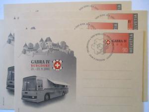 Schweiz Ganzsache Gabra Burgdorf 2001 viermal mit ESST (71675)