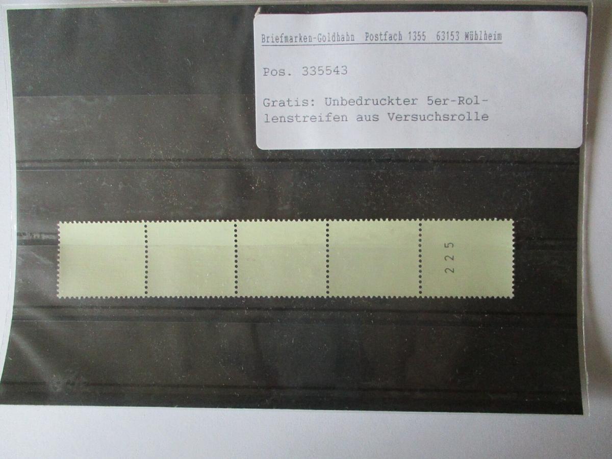 Bund Rollenmarke Versuch, unbedruckter 5er Streifen aus Versuchsrolle (27299) 0
