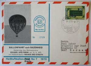 Schweiz Ballonpost nach Bazenheid 1970 (71865)