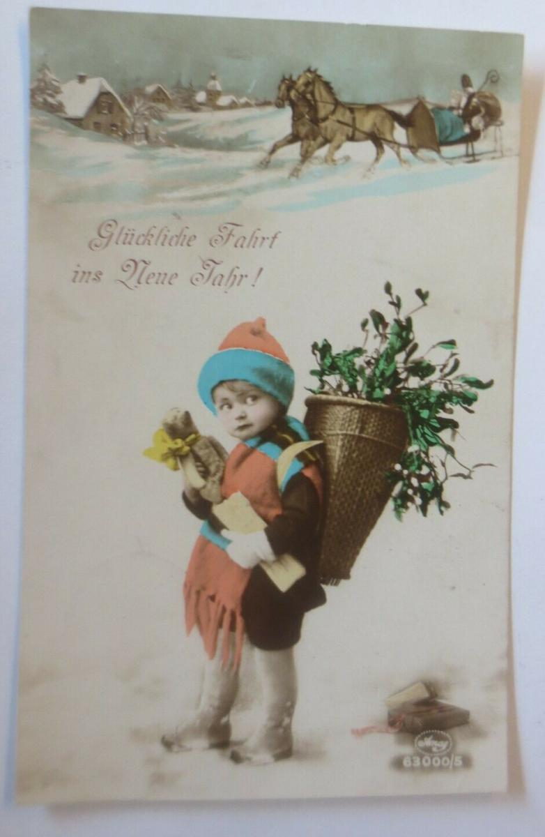 Neujahr, Kinder,  Teddy, Korb, Misteln,    1924  ♥ (66813) 0