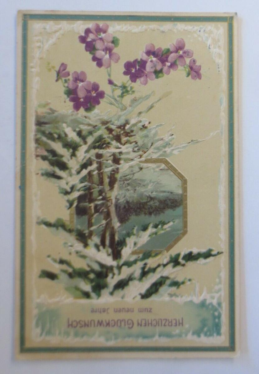 Neujahr, Wald, Winter, Blumen, Eiszapfen,   1909  ♥  (46697) 0