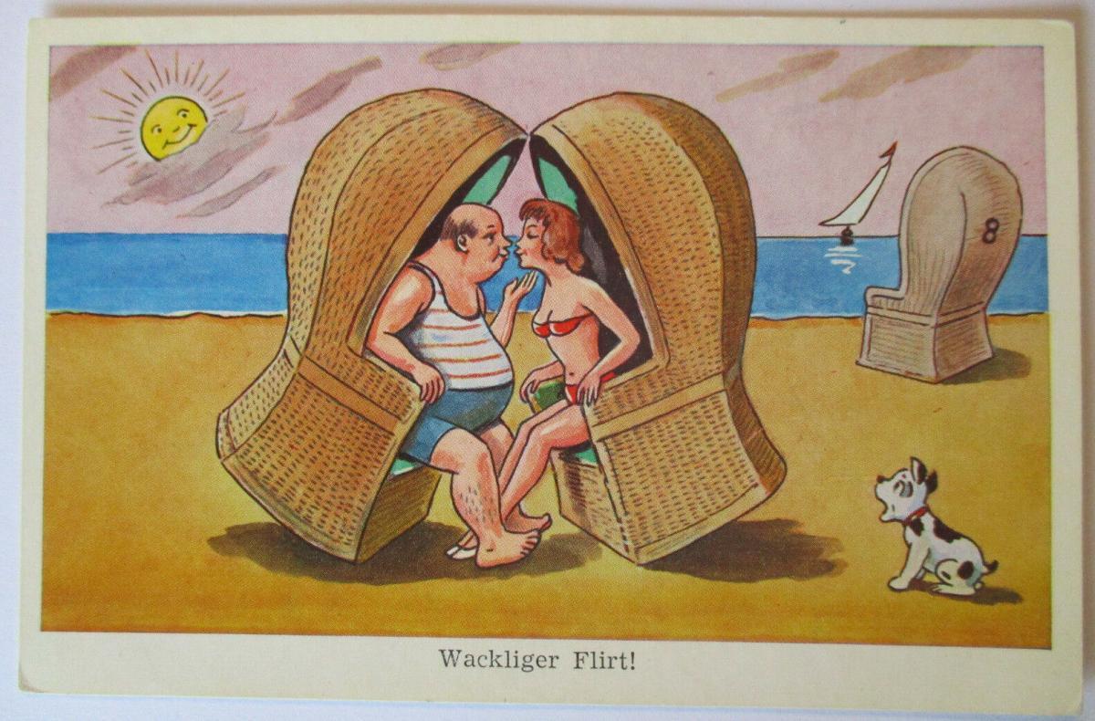 Meer, Strand, Baden, Strandkorb, Wackliger Flirt, ca. 50er Jahre (44101) 0