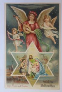 Weihnachten, Engel, Mandoline, Heilige, Krippe, Jesus, 1909, Prägekarten♥(42814)