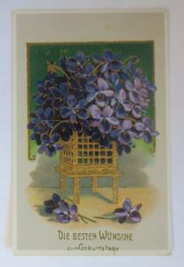 Geburtstag, Veilchen, Blumen,   1912, Golddruck  ♥ (36947)