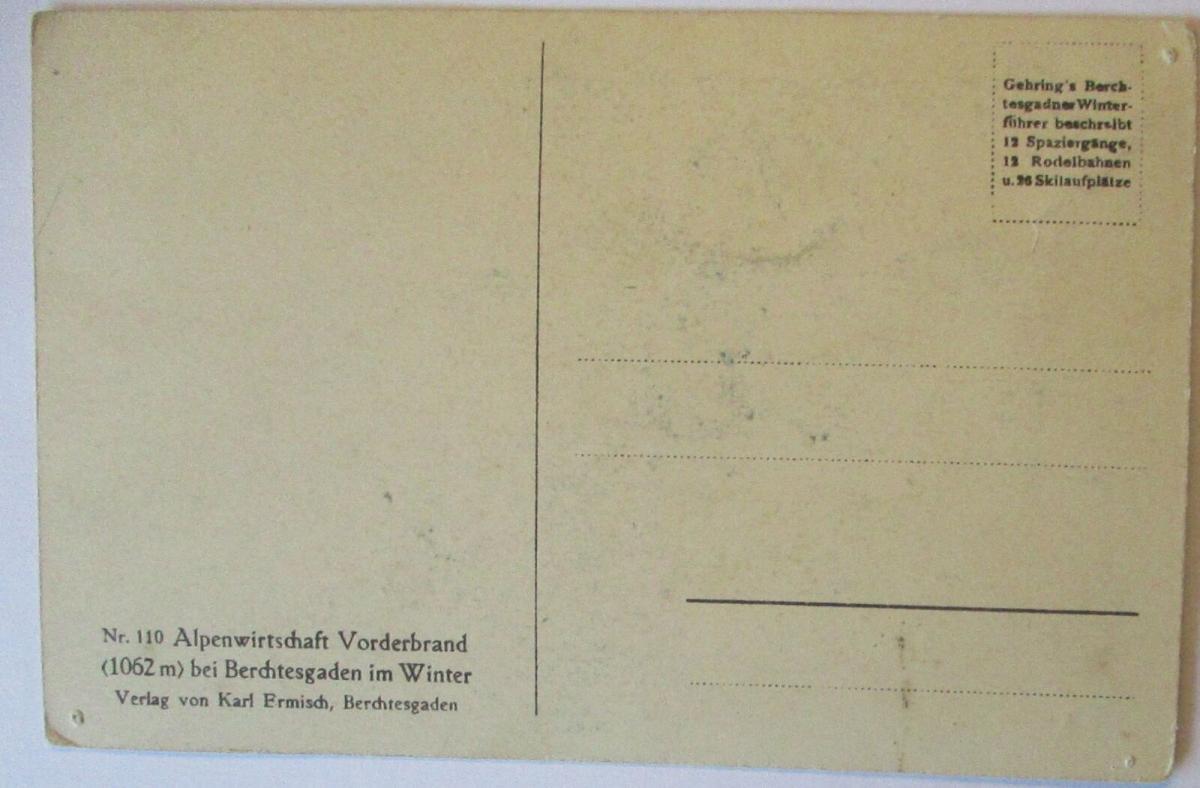 Alpenwirtschaft Vorderbrand bei Berchtesgaden im Winter, Verlag Ermisch (16028) 1