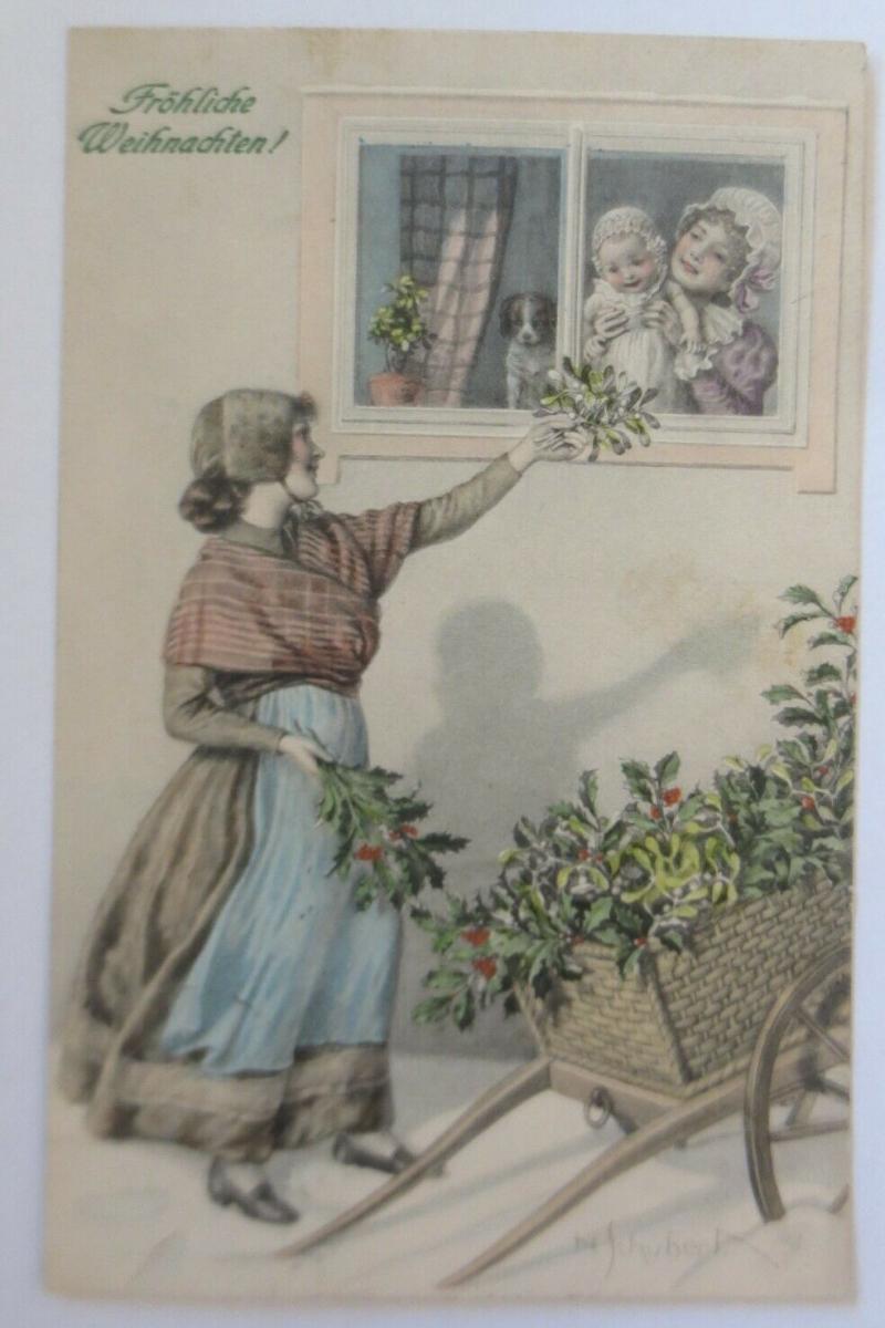 Weihnachten, Frauen, Mode, Kinder, Misteln,1909, Munk Vienne. N.Schubert♥(37217) 0